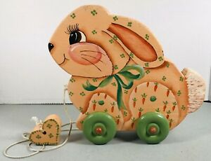 Vintage Bunny Rabbit Wood Pull Toy Hand Painted Good Color
