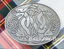 KILT BELT BUCKLE PEWTER CELTIC HOUNDS OVAL MADE IN THE UK MENS English Pewter Co
