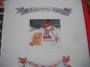 To a Wonderful DAD Lots of Love at CHRISTMAS (Snowman & Bear) Card