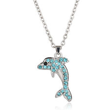 "Aqua Dolphin Charm Pendant Fashionable Necklace - Sparkling Crystal - 17"" Chain"