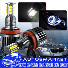 2X 120W CREE NEW H8 LED Angel Eyes Halo Ring Light Bulbs 6500K White For BMW