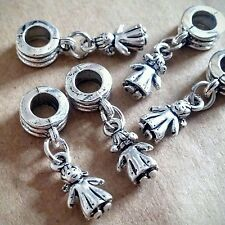 5PC LOT Silver Little Girl Daughter w/ Pigtails  European Dangle Charms for Mom