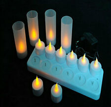 Rechargeable 12 pcs LED Flameless Tea Light Candles with Votives 220V Wedding De