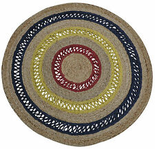 Round Jute Floor Rug -Natural Vertical Braided Flatweave Rug(120X120cm) Blue/Red