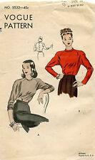 1940's VTG VOGUE Misses' Blouse Pattern 5522 Size 16