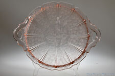 "1930 - 1939 CHERRY BLOSSOM by Jeannette Glass PINK 10.5"" Handled Sandwich Tray"