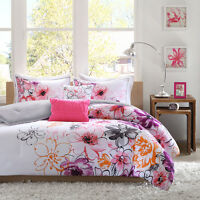 BEAUTIFUL 5PC MODERN CHIC PINK WHITE TEAL PURPLE BLACK ORANGE GIRL COMFORTER SET