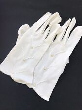 Pair Of Vintage Ladies' Off White Nylon Gloves With Pearl Embellishments