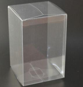50 x Bomboniere favour clear PVC LARGE wedding cup cake gift wrap box 8x8x10cm