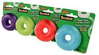 """4 Pk Scotch 3M Magic Tape Donut Dispenser Refillable 3/4 x 300"""" Grn,Purp,Blu,Red"""