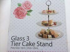 Placa de vidrio 3 Niveles Pastel Soporte Exhibición Fiesta Boda Evento decorada cupcake