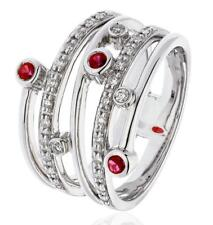 0.40ct Round Brilliant Ruby & F VS Diamond Multi-Band Ring in 18ct White Gold