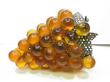 Vintage Retro Lucite Grape Hanging Swag Lamp Orange Amber Large
