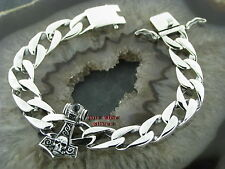 PANZERARMBAND Thors Hammer Silberarmband Feingehalt Silber 925 PANZER Armband