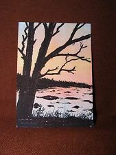 """ACEO Original Acrylic Paint & Felt Tip Pen Painting """"Across the Flats"""" by NuoVo"""