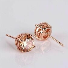 4Ct Round Cut Morganite Push Back Solitaire Stud Earrings 14K Rose Gold Finish