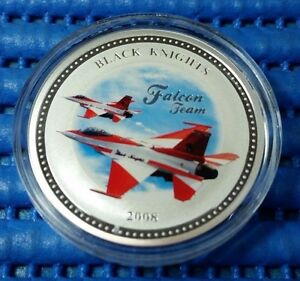 2008 Singapore RSAF Black Knights 999 Fine Silver Brilliant Medallion with Frame