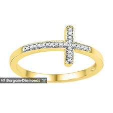 diamond .06 carats Christian cross ring 10K gold faith protection love modern