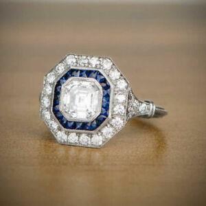 2.35Ct White Assccher Cut Diamond Art Deco Engagement Ring 925 Sterling Silver