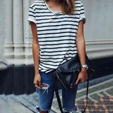 Womens Summer Short Sleeve Striped Blouses T-shirt Casual Sailor Tee Shirt Tops