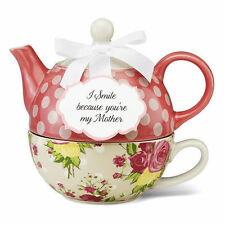 Pavilion Gift Tea for One Set  Stacked Teapot & Cup AUTUMN ROSE by Jessie Steele