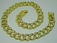 20 inch Length 14K Gold Plated Miami Cuban Link Faux Diamond HipHop Bling Chain