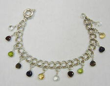 STERLING SILVER CHAIN BRACELET WITH MULTI GEMSTONES/GLASS 7 1/4'' N127-V