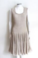 Alaia Beige Ribbed Full Flared Stretch Dress S