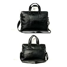 "15"" Premium Real leather Laptop Bag messenger satchel black briefcase Men Case"