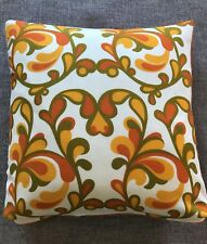 Vintage Retro Cushion 60's Fabric backed with orange Velvet feather pad included