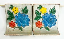 Vintage Painted Flower Cast Iron Bookends - Set of 2