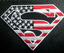 Superman logo US flag red and white EMROIDERED IRON ON  PATCH