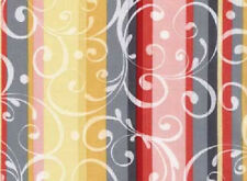 1YD REFLECTIONS 22663-coral SCROLL STRIPES Gudrun Erla Red Rooster Quilt Fabric
