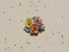 VINTAGE SIGNED ARTONE BONE CHINA ROSE & FORGET ME NOT FLOWER PIN BROOCH ENGLAND