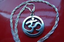 "Buddhist Sanskrit Lucky Charm Pendant on a 28"" .925 Sterling Silver Wavy Chain"