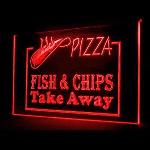 110055 OPEN Pizza Fish Chips Potato Crispy Salad Display LED Light Neon Sign