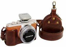 Pu cuir demi-caméra sac étui housse pour olympus pen lite E-PL8 EPL8 café