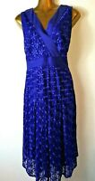 Junction X 16 Blue Lace V Neck Sleeveless Party fit & flare party Dress