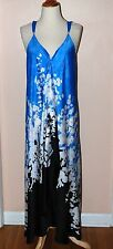 OSCAR DE LA RENTA PERFECT SUMMER Maxi Dress Blue multi color  Size L Sundress