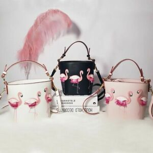 Women's Handbag Flamingo Crossbody Leather Bucket Pink Purse Bag Beach Big Tote