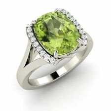 3.43 Ct Certified Real Peridot & SI Diamond Solid 14k White Gold Engagement Ring