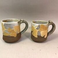 Set (2) Studio Art Pottery Hand Made Throw Mugs Vases Marked Justine Calumet NEW