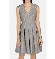 KAREN MILLEN Grey Tweed Tailored Full Skirted Office Evening Winter DRESS 12 UK
