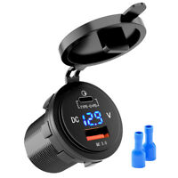 3.1A Fast Car Charger QC3.0 TypeC USB Charging Port Outlet Blue LED Volt Meter
