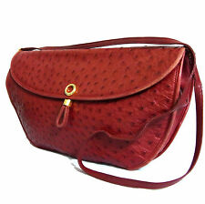 Auth Comtesse Ostrich Leather Red Crossbody/Shoulder/Clutch Bag Purse W.Germany