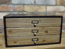 Small 3 Drawer Industrial Cabinet Wood Storage Chest Craft Stationary Store etc