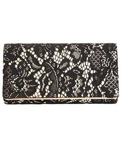 NEW Giani Bernini Lace Clutch Bag Black & Gold w/ Chain Strap NWT $79