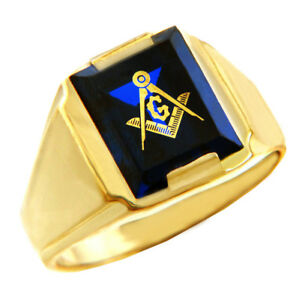 Solid Yellow Gold Freemason Blue Stone Square Compass Masonic Mens Ring Letter G