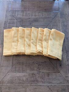 """Set of 8 Pottery Barn Yellow Textured Cotton Napkins 20 X 20"""" EUC"""