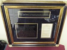 Museum Quality Framed Bible Page - First French Bible Printed in America